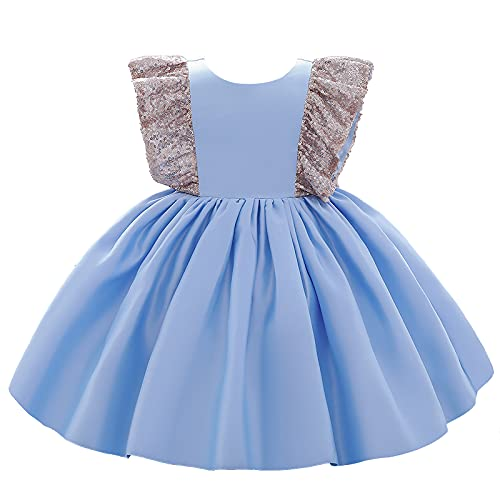 inhzoy Vestido Princesa para Boda Fiesta para Bebé Niñas Vestido de Desfile Bautizo Cumpleaños de Manga con Vuelo de Lentejuelas Brillantes Azul Cielo 18-24 Meses