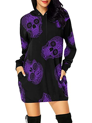 Señora Halloween calavera con capucha con cordón con capucha vestido de mujer otoño suéter largo sudaderas con capucha con bolsillos XXL púrpura