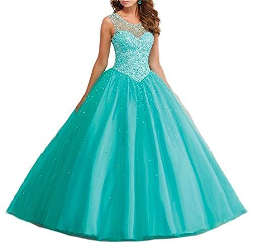 XUYUDITA Vestidos de Baile Tulle larga Perlas Sheer Neckline Quinceanera vestidos de baile 2017 Menta Verde-38