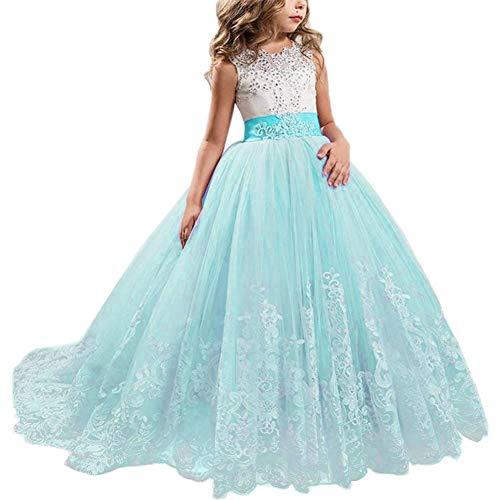 NNJXD Niñas Bordado De Encaje Flor De La Boda Fiesta De Cumpleaños Princesa Vestido de Cola Larga Tamaño (130) 6-7 años 406 Azul-A