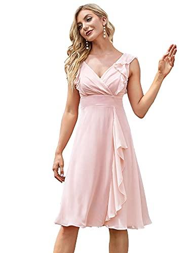 Ever-Pretty Vestido de Fiesta A-línea Largo para Mujer Escote en V sin Mangas Plisado Vestido de Dama de Honor Rosado 42