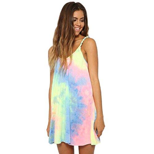 Ularma Vestido de Playa Suelta sin Mangas O del Cuello de Las Mujeres (XL, Multicolor)