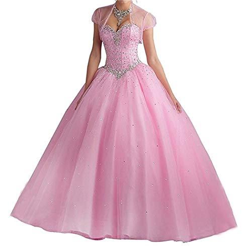 XUYUDITA Novia Prom Vestidos Largos Quinceanera Vestido con Lentejuelas de Cristal Rosa-34