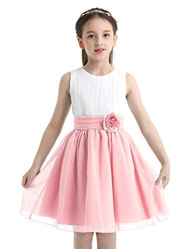 IEFIEL Vestido Elegante de Fiesta para Niña Vestido Princesa Corto de Dama de Honor Vestido Cóctel Sin Manga de Boda Cumpleaños Rosa 10 años