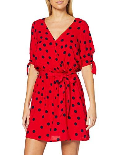 Women'secret, Vestido corto estampado de topos, con escote cruzado para Mujer, Rojo, M