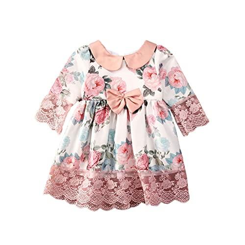Carolilly Vestido de princesa ceremonia elegante vestido de niña floral rosa de encaje vestidos para boda vestido bautizo recién nacido manga larga vestido cumpleaños niña Rosa 4- 5 años
