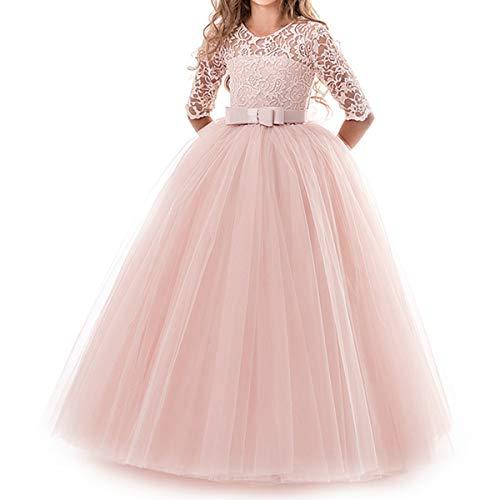 NNJXD Chicas Pompa Bordado Vestido de Bola Princesa Boda Vestir Talla(170) 13-14 años 378 Rosa-A