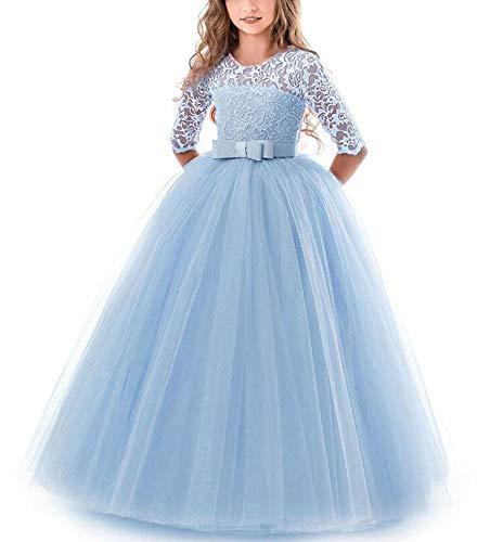 NNJXD Chicas Pompa Bordado Vestido de Bola Princesa Boda Vestir Talla(140) 8-9 años 378 Azul-A