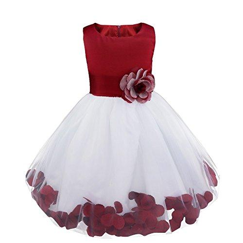 Freebily Vestido Elegante Boda Fiesta con Flores para Niña Vestido Blanco de Princesa para Chica Dama de Honor Vino 10 años