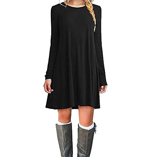 ZHANGNA Mujer Suelto Casual Vestido de la Camiseta (Negro Manga Larga, Medium)