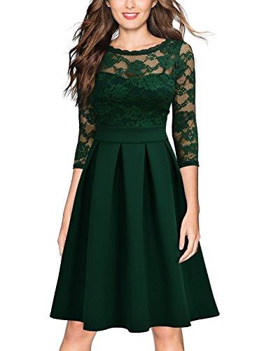 Miusol Vintage 1940s Encaje Fiesta Vestidos para Mujer Verde Medium