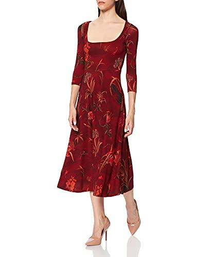 Desigual Vest_Flowers Vestido Casual, Rojo, XL para Mujer