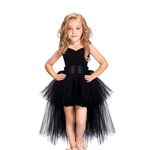2-9 Años,SO-buts Niños Pequeños Bebés Niñas Tul Formal Tutú Princesa Trago Vestido De Cola Trajes Vestidos De Novia De Fiesta (Negro,3-4 años)