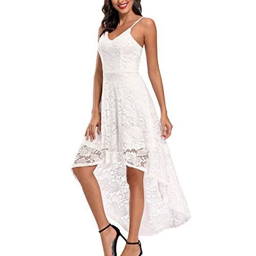 Vestido Mujer Retro Años 50 Cuello Redondo, Vintage Cóctel Rockabilly Clásico Novia Estilo Noche de Cintura Alta de Encaje de con Cinturón de Princesa Vestido de Fiesta Graduación(A Blanco,XL)