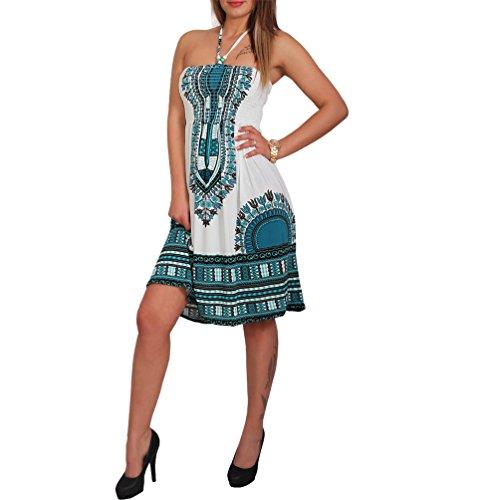 Vestido de verano para mujer, con perlas de madera, para la playa, vestido de paño, estilo azteca 33 azul petróleo. 36-40