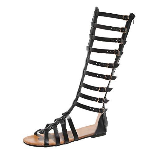Sandalias de Mujer Sandalias de Estilo Romano para Mujer Botas Hasta La Rodilla con Hebilla Zapatos Casuales con MúLtiples Correas Sandalias Sandalias con Personalidad de Moda