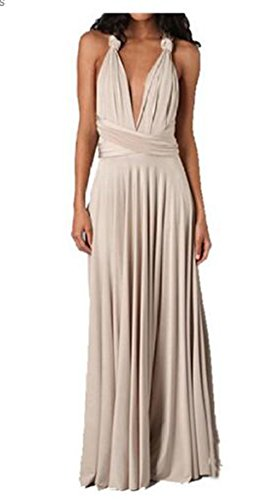 Vestido largo de Evalent para mujer, de tipo convertible, para cóctel, boda Beige Kahki Large