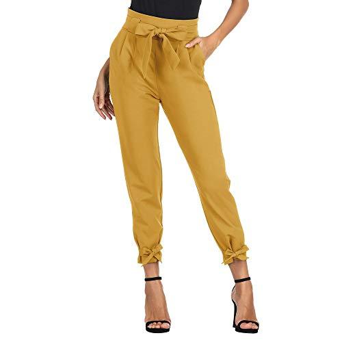 Pantalones de Talle Alto para Mujeres Elegantes con Transpirable, Ligero, Ligero, Primavera, Verano, Arco Amarillo L Cl10903-2