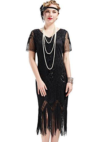 ArtiDeco - Vestido de mujer estilo años 20 con mangas cortas, disfraz de Gatsby para fiestas temáticas Negro XXL