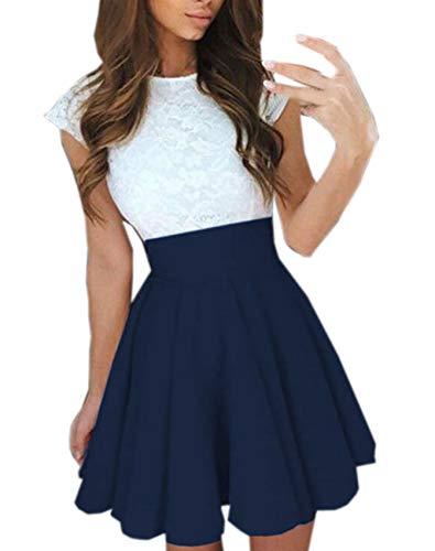 Ajpguot Verano Mujer Cuello Redondo Manga Corta Corto Vestido de Encaje Alinear Vestido de Drapeado Elegante Mini Vestidos de Fiesta Cóctel (M, Azul Oscuro)