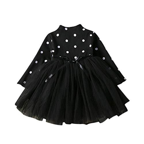 Vestido Tutú 1-3 Años para Bebé Malla Vestidos para Niñas Princesa Infantil Falda Tul Fiesta Punto Ola Correa Cintura Manga Larga Algodón Lindo