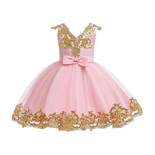 FYMNSI Vestido de niña de flores para bebé, vestido de fiesta para niñas, cumpleaños, dama de honor, vestido de boda, tutú de princesa, elegante, línea A Rosa. 18-24 Meses