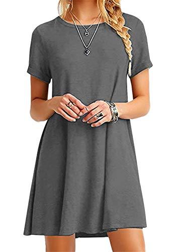 OMZIN Camisa Larga de Manga Corta para Mujer Top Informal Una línea Vestido de túnica Cómodo camisón Traje de Pijama,Gris,5XL