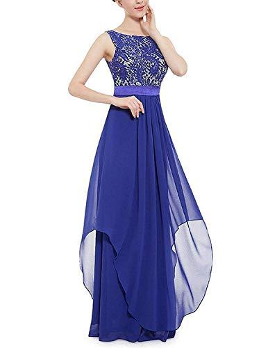 MODETREND Mujer Vestidos Fiesta Largos sin Manga de Gasa Encaje para Ceremonia Coctel Partido Vestido Elegantes de Noche Azul,L