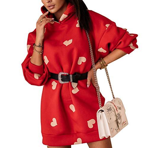 Frecoccialo Sudadera Larga para Mujeres con Capucha Tallas Grandes para Casual Invierno Vestidos Sudadera con Bolsillo Grande Hoodie (Rojo Corazón, XL)