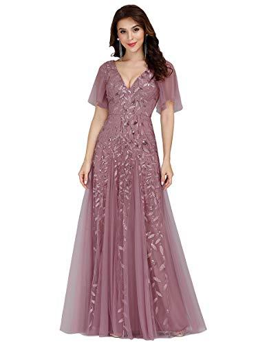 Ever-Pretty Vestidos de Fiesta Mujer Largo Tul Lentejuelas Escote V A-línea Elegantes Orquídea 36