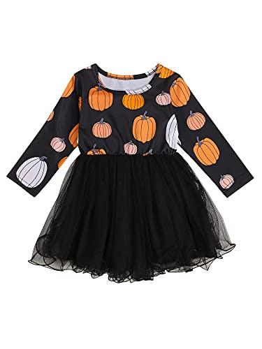 Vestido de Halloween para Bebé Niña Vestido de Manga Larga con Cuello Redondo y Estampado de Calabaza para Halloween Vestido de Algodón y Tul para Recién Nacida (Negro, 3-4 Años)