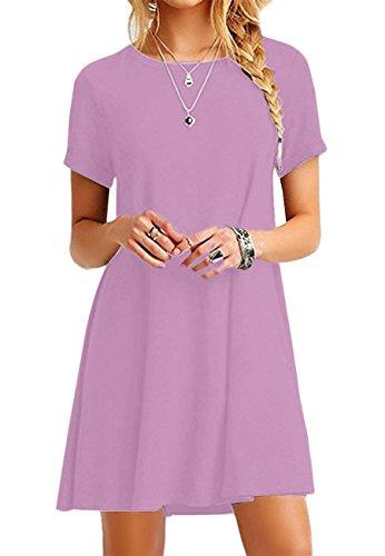 OMZIN Camisa Larga de Manga Corta para Mujer Top Informal Una línea Vestido de túnica Cómodo camisón Traje de Pijama,Violeta Claro,L