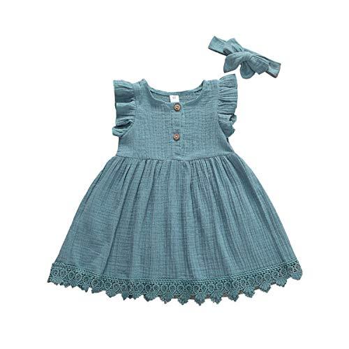 Vestido Verano Niña Bebé Vestido de Princesa Mangas de Mosca Dobladillo de Encajes Diadema de Lazo Vestido de Bautizo Conjunto de Dos Piezas para Niñas (Azul, 3-4 Años)