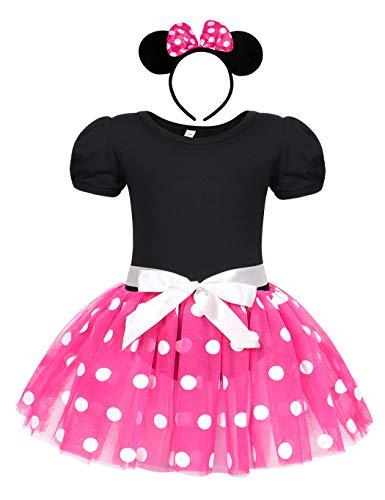 Jurebecia Disfraz de Niñas Recién Nacida Tutú Vestido Cumpleaños Trajes Mameluco + Falda y Mini Mouse Ears Diadema Vestido de la Boda de Tul Regalo Rosa