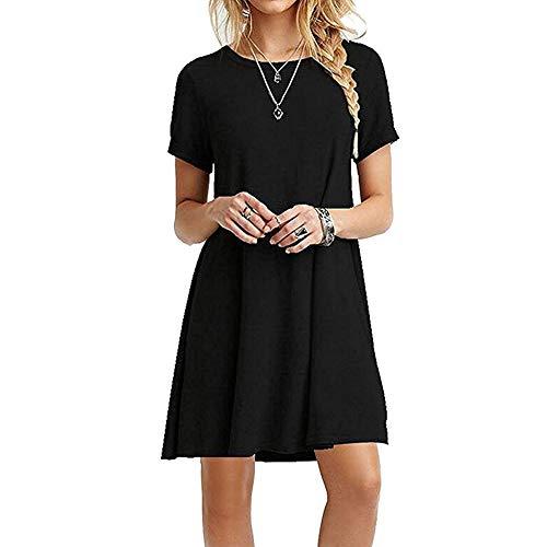 ZNYSTAR - Vestido holgado e informal de manga corta para mujer, estilo camiseta, para primavera, verano u otoño Negro M