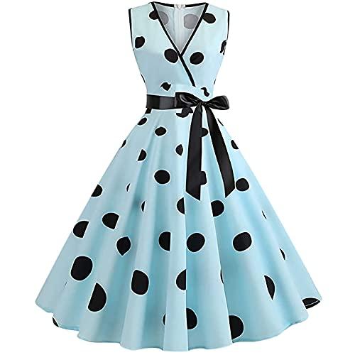 Vestido Rockabilly para mujer de los años 50 años 60 A Line de manga casquillo vintage Swing vestido de fiesta de señoras retro con estampado de puntos, azul claro, XX-Large
