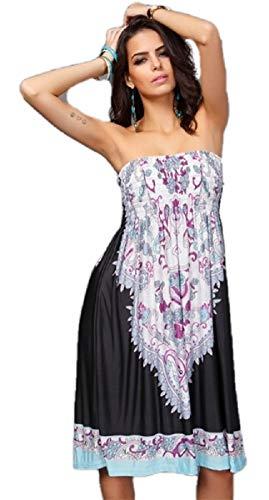 Ducomi Chic Vestido de Mujer Elegante - Vestido sin Tirantes de Verano, Falda hasta la Rodilla - Vestido de Verano Romántico, Ligero y Elegante, Tacón o Sandalias (Negro, L)