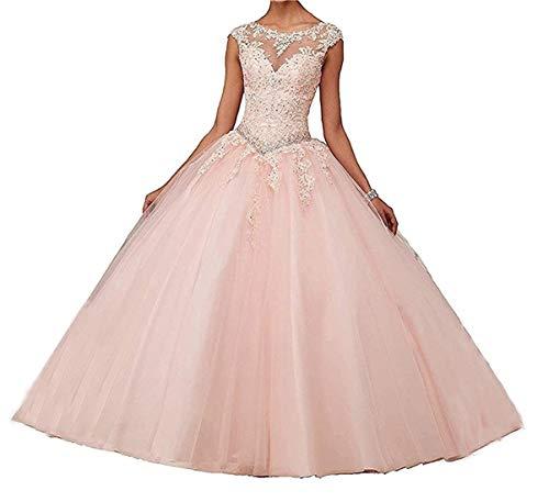 XUYUDITA Encaje Apliques Bola Vestido de Noche Vestido de Fiesta Cuentas Lentejuelas Quinceanera Vestidos Largos Rosa-32