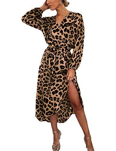 BUOYDM Mujer Elegantes Vestido de Fiesta Cuello V Leopardo Estampado Vestido Casual Manga Larga Irregular de Noche Cóctel Playa Marrón M