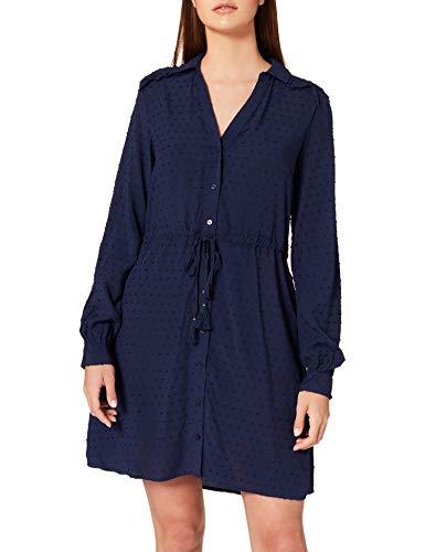 Springfield Vestido Camisero Topitos Bordados Relieve, Azul Medio, 38 para Mujer