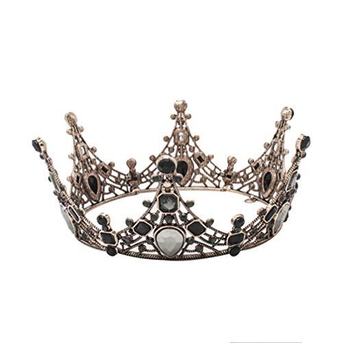 Lurrose corona barroca cristal negro redondo reina corona vintage bronce tiara nupcial para boda prom