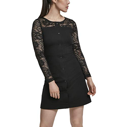 Urban Classics Kleid Ladies Lace Block Dress Vestido, Negro (Black 00007), Large para Mujer