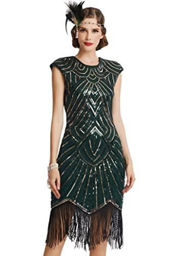 Babeyond - Vestido de charlestón con estilo de los años 20, del Gran Gatsby, con flecos y cuello en V - Verde - Large