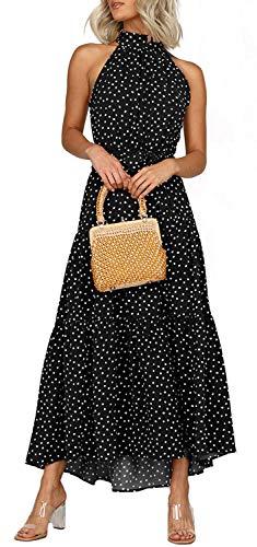 Longwu Vestido Largo Estampado Floral sin Mangas con Cuello Halter sin Mangas para Mujer Vestido Largo Plisado con cinturón Negro-L