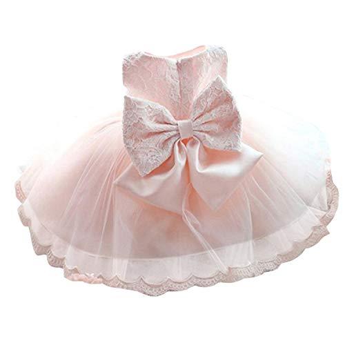 TTYAOVO Vestido de Tul de Manga Larga de la Boda de la Dama de Honor de la Princesa de Las Muchachas del Bebé 0-3 Meses 04 Rosado