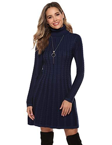 Abollria Vestido a Punto Cuello Alto Suéter Elegante para Mujer Vestido de Jerséy Clásico para Otoño Invierno Cuello Alto