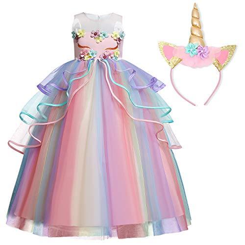 TTYAOVO Chicas Unicornio Fancy Vestido Princesa Flor Desfile de Niños Vestidos sin Mangas Volantes Vestido de Fiesta Talla(140) 7-8 años 719 Rosa
