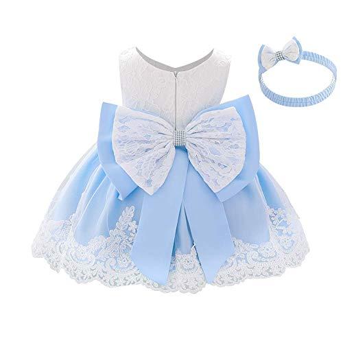 IWEMEK - Vestido de encaje para niña, con lazo, para dama de honor, boda, tutú, princesa, cumpleaños, fiesta, bautizo, para niños, formal azul claro 6-7 Años
