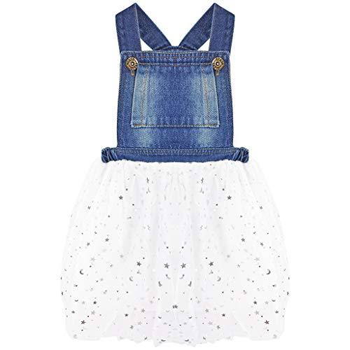 Bebé Niñas Vaquera Vestido Dungaree Peto Falda de Burbuja Mezclilla Tutú Falda Estrellas Vestido de Princesa Blanco 3-4 años