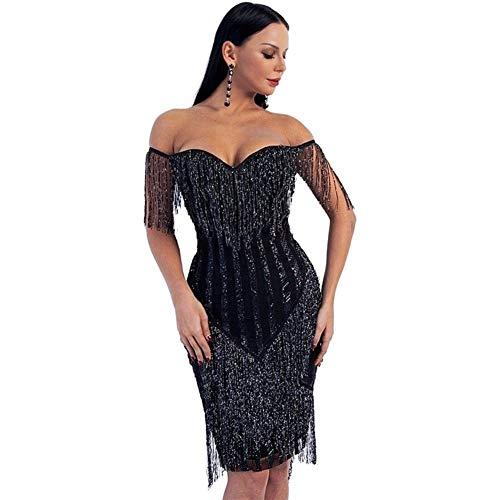 ZALE - Vestido negro para mujer con diseño de rayas sin tirantes para mujer, color negro con purpurina elegante borlas de color negro para mujer para baile fiesta temperamento, negro, Large